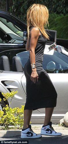 Rihanna.Tank Dress. Nike Sneakers