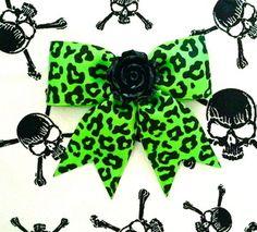 Hellcat Rosie Leopard Hair Bow - Flaming Green ---> Get yours here: http://punkupbettie.bigcartel.com/product/hellcat-rosie-leopard-hair-bow-flaming-green