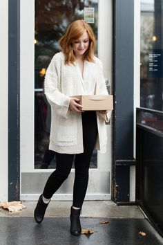 "During the holiday season, my friends and I like to get together and catch up over coffee and pastries. My favorite job is to bring the treats. Topshop""s perfectly priced (under $80), cozy @nordstrom, textured kimono cardigan is the ideal layer when running my holiday errands."