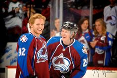 Gabe Landeskog and Nate MacKinnon of the Colorado Avalanche share a laugh during warm ups before the March win over the Chicago Blackhawks. Ice Hockey Teams, Hockey Baby, Hockey Stuff, Hockey Players, March 12th, Buffalo Sabres, Colorado Avalanche, World Of Sports, Chicago Blackhawks