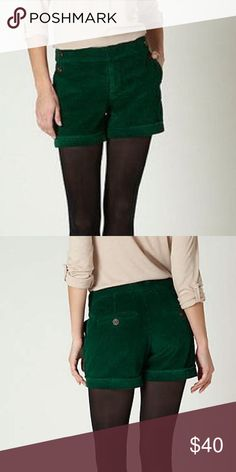 Anthropologie Daughters of Liberation green cords Forest green corduroy cuff shorts, double brown button on side pockets, 2 pockets on back, also with brown button closure, middle zip fly, truly gorgeous shorts- dress up with blazer, sweater or casual! A nice alternative from jeans. Cotton, dry clean Anthropologie Shorts