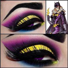 Super bad-ass #Batgirl inspired look by Luciferismydad using #Sugarpill and #CoastalScents eyeshadows!