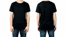 Man in blank black t-shirt, front and back views of mock up for design print. Blonde Jungs, Plain Black T Shirt, T Shirt Design Template, Blank T Shirts, Free Photos, Pattern Fashion, Mockup, Print Design, Street Wear