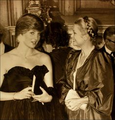 Lady Diana Spencer and Princess Grace of Monaco in March, 1981 at Goldsmith Hall....so sad they are both gone
