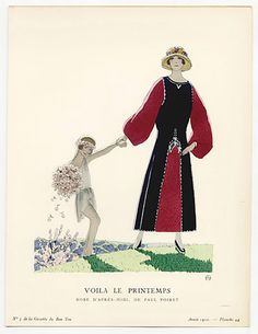 "Marty 1922 Paul Poiret Afternoon Dress, ""Voila le Printemps"", Gazette du Bon Ton"