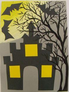 Strašidelný hrad - koláž z papíru