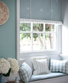 Pastel linen union blinds, cushions from Moghul's Signature Collection