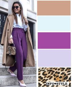 A very interesting and fashionable combination gives b . - Color palette for clothes - Colour Combinations Fashion, Color Combinations For Clothes, Color Blocking Outfits, Fashion Colours, Colorful Fashion, Purple Outfits, Colourful Outfits, Trent Coat, Mode Outfits