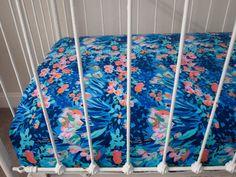 Pink, Coral, Blue, Navy, Aqua Floral Designer Fitted Crib Sheet Cot Sheet…