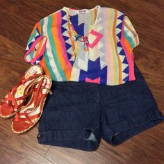 SZ 10NEW YORK AND COMPANY DENIM TROUSER SHORTS Trouser style dressy shorts by New York & Company..in gently used condition New York & Company Shorts Jean Shorts