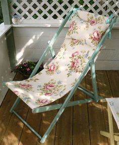 Floral deck chair - can easily be folded away, and taken out for a spot of sunbathing Outdoor Seating, Outdoor Decor, Floral Chair, Vintage Caravans, Butterfly Chair, Take A Seat, Garden Inspiration, Garden Ideas, Beach Chairs