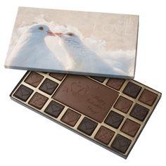 White Kissing Doves - Love customizable 45 Piece Box Of Chocolates - Saint Valentine's Day gift idea couple love girlfriend boyfriend design
