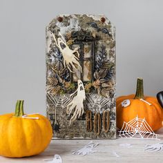 Halloween mixed media project - Using Tim Holtz dies! Halloween Shadow Box, Halloween Tags, Halloween 2019, Tim Holtz Dies, Tim Holtz Distress Ink, Mixed Media Cards, Distressed Painting, Watercolor Cards, Paper Crafts