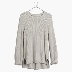 Madewell Tracklist Side Zip Pullover An indispensable ribbed pullover with a secret—the split shirttail hem features all-the-way-up-the-side zippers. Zip, unzip—this one is all about the way you style it.  Cotton/Nylon/Viscose blend. VERY light piling. Madewell Sweaters Crew & Scoop Necks
