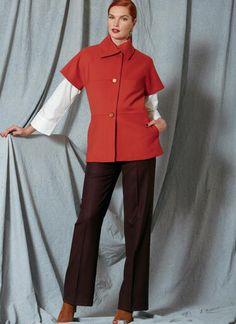 V1526   Misses' Asymmetrical Collar Jacket, Drop-Shoulder Shirt, and Straight-Leg Pants   Vogue Patterns Vogue Patterns, Bias Tape, Top Pattern, Pattern Sewing, Straight Leg Pants, Couture, Shirt Jacket, Clothing Patterns, Autumn Winter Fashion
