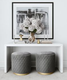 The Diamond features elegant diamond tufting in sumptuous grey or light blue velvet and sits atop a glam brushed gold base. Place the Diamond anywhere for that finishing touch and use it as an ottoman or as a stool that provides that extra seat. Elegant Home Decor, Elegant Homes, Gray Home Decor, Modern Decor, Contemporary Home Decor, Grey Room Decor, Transitional Home Decor, Spring Home Decor, Luxury Home Decor