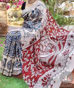 Beautiful Kalamkari Block Printed Semi Silk Saree