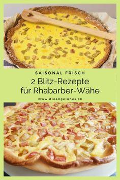 Rhabarber ist ein Frühlingsgemüse, das nur im Mai und im Juni zur Verfügung steht. Es gilt also, diese einzigartige, farbenfrohe Stange in vollen Zügen zu geniessen, wenn sie Saison hat. Zum Beispiel als süss-saure Wähe - ein Klassiker der Schweizer Küche! Wir haben zwei einfache und gelingsichere Rezepte für euch parat. #Rhabarber #Wähe #LaCucinaAngelone #DieAngelones Hawaiian Pizza, Juni, Ethnic Recipes, Form, Kid Cooking, Fresh