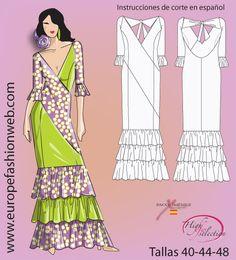Vestido de flamenca bicolor
