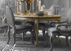 Antiqued Buttermilk Baroque Oval Dining Table #AICO