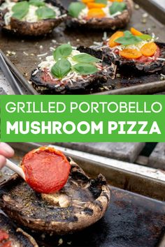 Grilled Portobello Mushroom Pizza is a Healthy and Fast Alternative. Eliminate the dough and carbs for this keno-friendly fast grilling meal! #portobello #grill #BGE #BigGreenEgg #pizza #GrilledPizza #Keto #LowCarb