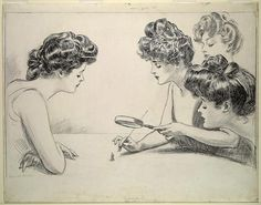 femdomstyle:  Gibson girls doing what? In the Belle Epoque (European term for the happy years leading up to the First World War) the Gibson girl was the image of the ideal American woman. She was the creation of Life illustrator Charles Dana Gibson (1869-1944) and said to be modelled on his wife Irene Langhorne. Both Charles and Irene were offspring of what we may call the US aristocracy. After 1918 Gibson became owner of Life magazine. This illustration is dated 1903.
