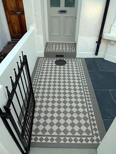 grey and white victorian mosaic tile path rail gate wall bespoke bike bin store slate paving charcoal dark dulwich peckham london Victorian Front Garden, Victorian Front Doors, Victorian Terrace, Victorian House, Front Garden Path, Front Gardens, Front Path, Porch Tile, Porch Flooring