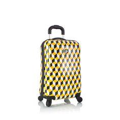 """Heys Isometric Carry On 21"""" Luggage Fashion Hardcase Yellow Black Cube TSA"""