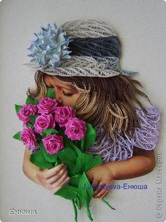 Картина, рисунок, панно Квиллинг: Девочка с цветами Бумажные полосы. Фото 1