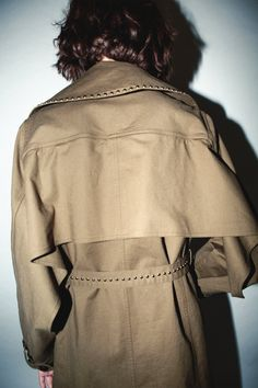 Robert Rodriguez Studio Trench Coat with Studs Fall 2018, Distressed Denim, Trench, Studs, Ready To Wear, Ruffle Blouse, Coat, Model, How To Wear