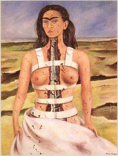 프리다 칼로, <부서진 기둥>, 1944   프리다 칼로에게는 사고와 여러 번의 수술들로 인한 후유증의 고통이 항상 따라다녔고, 그녀는 고통을 자화상을 통해 승화시켰다.