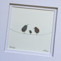 Pebble Art Birds on a Wire Baby Shower gift New Mom by SSPebbleArt