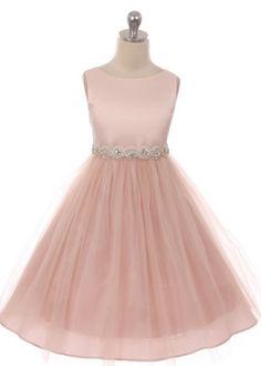 Blush Satin with Tulle Girl Dress with Rhinestone Waist