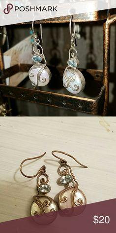 Pearl/silver/aquamarine drop earrings Pearl/silver/aquamarine drop earrings Jewelry Earrings