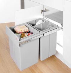 Wesco Bio Triple Compartment Pull Out Bin Hinged Door - Binopolis Kitchen Sink Storage, Kitchen Organisation, Kitchen Waste, Kitchen Pulls, Kitchen Bins, Kitchen Ideas, Kitchen Organizers, Kitchen Cabinets, Kitchen Layout