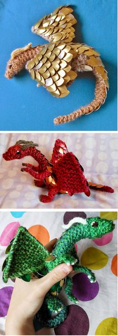 Knitting pattern for Scale Mail Dragon by CraftyMutt - A knitting patten to make a hand-sized baby dragon with either one or two colours of scales. The dragon has a wingspan of around 8 inches and measures 12 inches from nose to tail. More pics and info on Etsy (affiliate link) tba fantastical creature