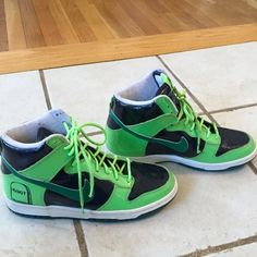 Limited Edition,Nike Dunks! These Neon Green & Black, Hi-Top, Nike Dunks, are So Cool! They are very Rare-A Halloween, Limited Edition! I wore them outta the house maybe 1x so they are in Excellent Condition. They are a Boys Size 5.5 which is a size 7 in women (ima 7.5,& ❤️ed em so much that I was was hoping to make em work) ps-that ddnt work out :( Nike Shoes Sneakers