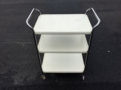 Vintage Cosco Metal Cart Off White Bar Cart or Utility Cart Chrome Hardware on Wheels Original Paint by BrooklynBornFinds on Etsy