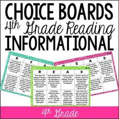 Common Core Reading Choice Boards {Informational: 4th Grade}