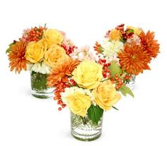A22 - Fall Breakaway - This trio of sunny Fall colors can be broken up or trailed down a long table as a modern centerpiece