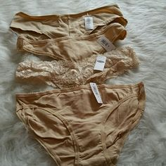 Lot of 4 nude pairs of panties 4 NWT pairs of nude old navy panties. 1 boycut, 1 regular, 1 lace thong, 1 regular thong. Old Navy Intimates & Sleepwear Panties