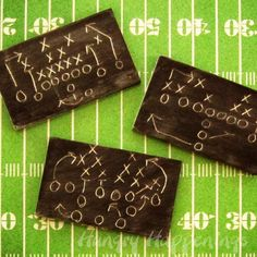 Super Bowl Sweets - Diagram of a Football Play on a Chocolate Chalkboard