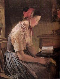 Jerichau-Baumann, Elisabeth (b,1819)- Woman Reading, Sitting, In, By Window