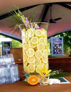 Eventdekoration - Zitronen - Vase - Hawaii Dekoration - PARKS Nürnberg - Kreativ Punkt - Dekoration & Design - Ich dekoriere Ihr Event! www.kreativ-punkt.info