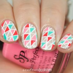 Geometric triangle nail art by @wondrouslypolished