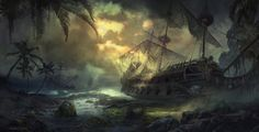 Graveyard of ships by Sergey Zabelin, via Behance