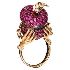 Snow White and the Huntsman - 18-karat rose gold ring with rubies and diamonds by Stephen Webster  |    Wedding Jewelry Photos | Brides.com
