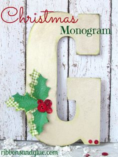 Make a simple and personalized Christmas Monogram for friends and family this Holiday season.