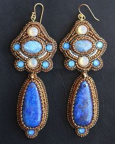 Lapis, Blue & White Opal Crystal Earrings