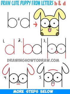 How to Draw Cartoon Baby Dog or Puppy from Letters Easy Step by Step Drawing Tutorial Wie Cartoon Baby Dog oder Puppy von Letters Easy Step by Step Drawing zu zeichnen… Word Drawings, Cartoon Drawings Of People, Drawing Cartoon Characters, Drawing Letters, Cartoon People, Doodle Drawings, Character Drawing, Easy Drawings, Drawing Cartoons